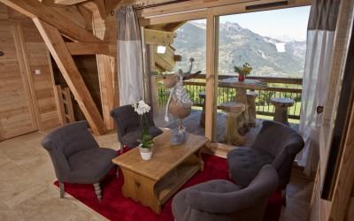 Petit salon avec vue sur montagne - Chalet de montagne familial à louer à Risoul Vars Alpes du sud